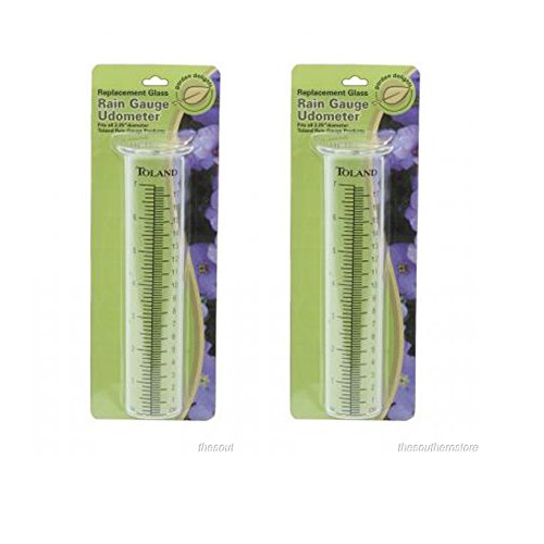 (2-pack) Toland Home Garden Clear Replacement Rain Gauge Udometer 227200 (Rain Gauge Vial Replacement)