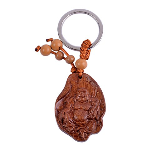 (Feng Shui Peach Wood Laughing Buddha Statue Keychain Chinese Wood Carved Amulet + Free Red String Bracelet Sku:M1074)