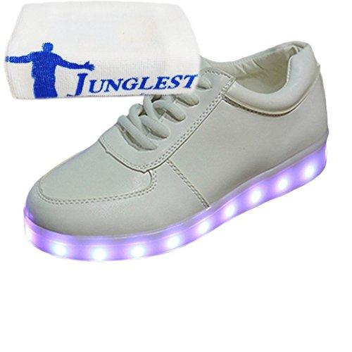 (Present:kleines Handtuch)JUNGLEST 7 Farbe USB Aufladen LED Leuchtend Sport Schuhe Sportschuhe Sneaker Turnschuhe für Unis Weiß