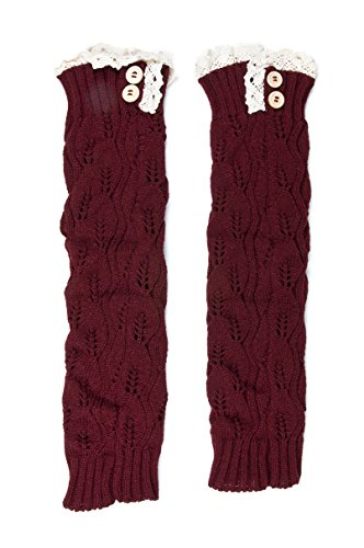 Women Knit Lace Button Leg Warmers, Boot Socks, Leg Sweaters, Cable Knit Socks (Long Button_B) Cable Sweater Boots