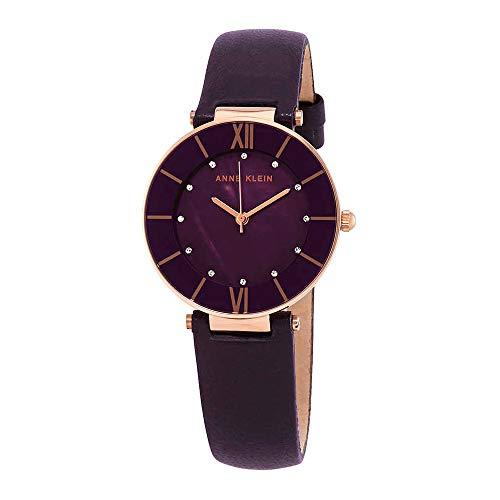 (Anne Klein Women's AK/3272RGPL Swarovski Crystal Accented Rose Gold-Tone and Dark Plum Leather Strap Watch)