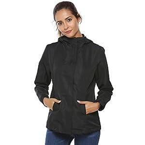 Zeagoo Womens Lightweight Waterproof Raincoat Hooded Outdoor Windbreaker Rain Jacket
