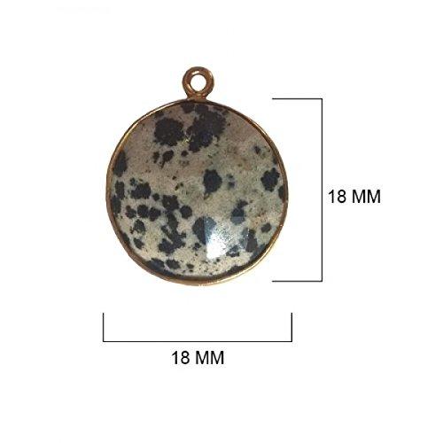Dalmatian Jasper Beads 18MM - BESTINBEADS - Dalmatian Jasper Stone - Dalmatian Jasper Coin 18MM Gold Bezel Single Loop - Bezel Connectors - Bezel Pendant - Dalmatian Jasper Pendant - (Jasper Coin Pendant Beads)