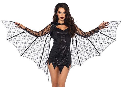 Leg Avenue Women's Lace Bat Wing Shrug, Black, One ()