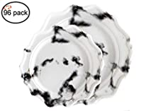 Tiger Chef 96 Pack Round Scalloped Rim Disposable Plastic Plate Set for 48 Guests Includes 48 10-Inch Dinner Plates, 48 8-Inch Salad Plates - BPA-Free