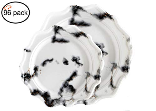 Black And White Plastic Plates (Tiger Chef 96 Pack Round Scalloped Rim Disposable Plastic Plate Set for 48 Guests Includes 48 10-Inch Dinner Plates, 48 8-Inch Salad Plates -)