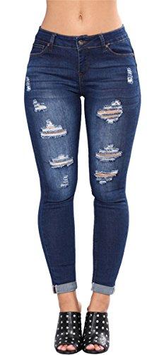 Femmes dchires Dtruit Distressed Cut Off Bodycon Skinny Denim Pantalon dcontract Jeans Pantalons bleu marin