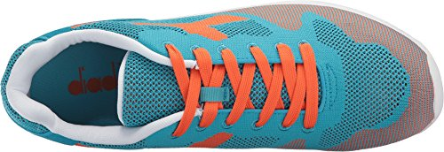Diadora V7000 Weave Herren Beige Textil Athletic Lace Up Laufschuhe Cyanblau / Vermillion Orange