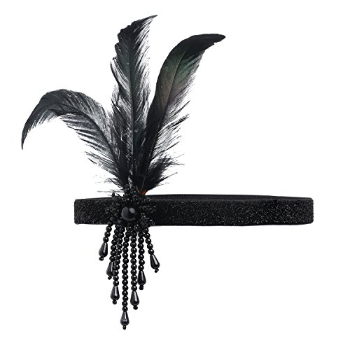 BABEYOND 1920s Flapper Headpiece Roaring 20s Great Gatsby Headband Black Feather Headband 1920s Flapper Gatsby Hair Accessories (Black) Dress Headpiece