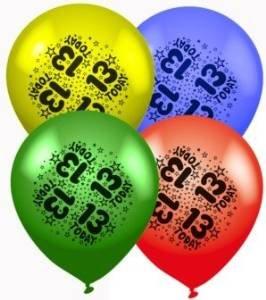 Age 13 Or 13th Birthday Assorted Latex Balloons 8 Pack Air Helium