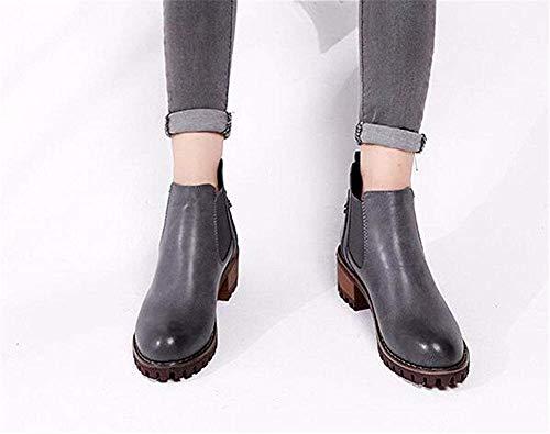 Alrededor Mujeres Invierno Otoño De Las La 38 Deed Impermeable Patean Pu 's Tabla Y Eu Cabeza Talón Del Zapatos PpA45nZ