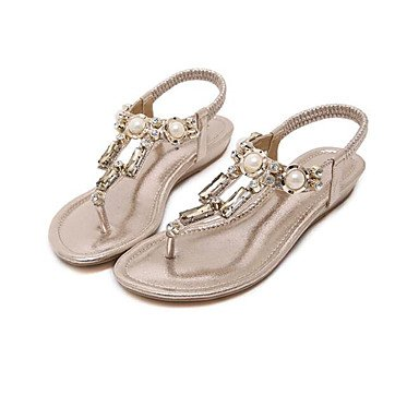 Women's Silver Gold 5 Sandals Microfibre 7 Black 5 US6 Casual Flat 5 UK4 Comfort CN37 EU37 Spring 0n0qvrX