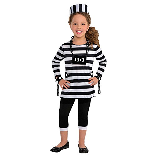 Amscan Girls Trouble Maker Prisoner Costume - Large (12-14), Multicolor -