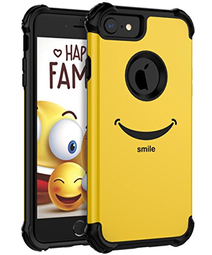 KapCase Case for iPhone 8 Case Case for iPhone 7 Cute Yellow Smlie Slim Fit Dual Layer Protection TPU and Plastic Hybrid Protective Cover,Black