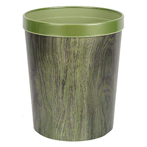 Wood Grain Decorative Round Trash Can Wastebasket with Pressure Ring, Shatterproof Plastic, 12L Capacity, Suitable for Bathroom,Kitchen,Home Office (Color : Green) ()
