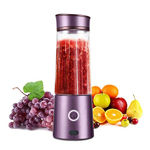 Portable Blender, TOPQSC Macaron Small Portable Personal Blender USB Rechargeable Juicer Fruit Mixer for Shakes and Smoothies, Mute Travel Blender Single Serve Juicer Cup with 5200 mAh Rechargeable Battery for Juice Protein Shake Baby Food, FDA BPA Free, Conceal USB Port Design