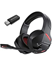 BINNUNE Wireless Gaming Headset with Microphone for PC PS4 PS5 Playstation 4 5, 2.4G Wireless Low Latency, Bluetooth Gamer Headphones with Noise Cancelling Mic