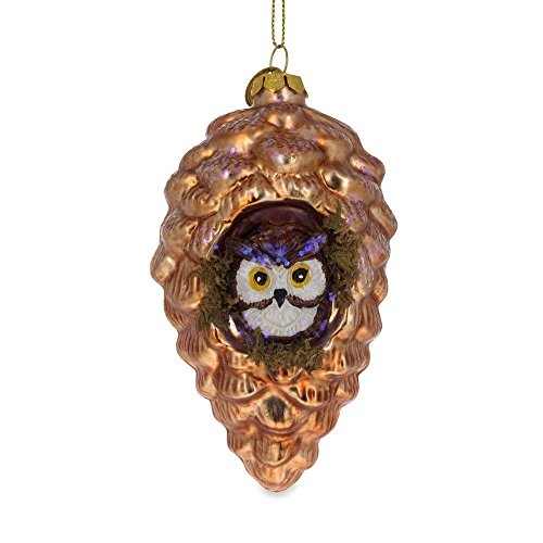 (BestPysanky Wise Owl in a Pine Cone Blown Glass Christmas Ornament 5 Inches)