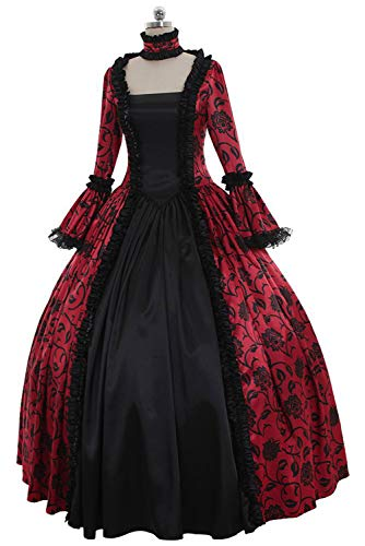 Hao Kaos Women's Royal Gothic Ball Gown Vintage Victorian Costume Dress Medieval Renaissance Dresses (XL, A) -