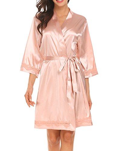 Pure Color Lace (Ekouaer Women's Pure Color Kimono Robe, Short(Champagne S))