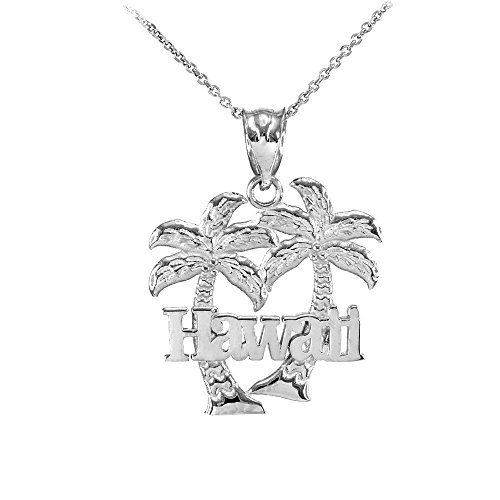 Fine 10k White Gold Hawaii Palm Tree Charm Pendant Necklace, 22