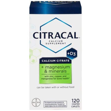 Citracal Plus Magnesium, 500 mg Calcium Citrate with 250 IU Vitamin D3 and 80 mg Magnesium, Multi-Mineral Bone Health Supplement for Adults, Caplets, 120 Count (Pack of 2) - Citrate Caplets Magnesium