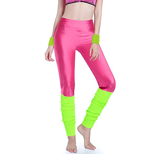 80s Neon Clothing (Kimberly's Knit Women 80s Party Neon Capri Running Workout Leggings Leg Warmers (One Size, Hotpink+Brightyellow))