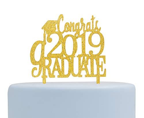 Congrats 2019 Graduate Gold Acrylic Cake Topper,Graduation Cake Topper