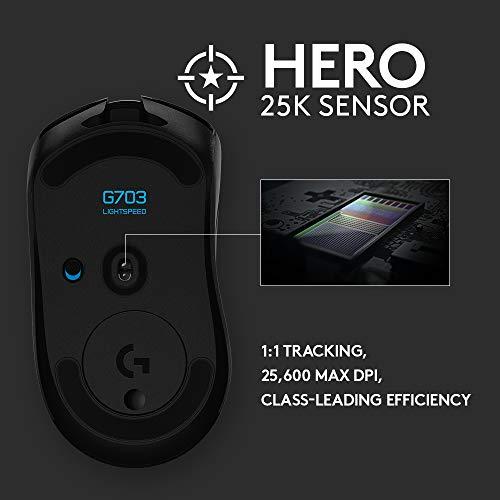 Logitech G703 Lightspeed Wireless Gaming Mouse W/Hero 16K Sensor, PowerPlay Compatible, Lightsync RGB, Lightweight 95G+10G Optional, 100-16, 000 DPI, Rubber Side Grips - Black