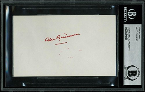 Alec Guinness Star Wars Signed 3x5 Index Card Autographed BAS Slabbed - Beckett - Autographed 3x5 Signed Card Index