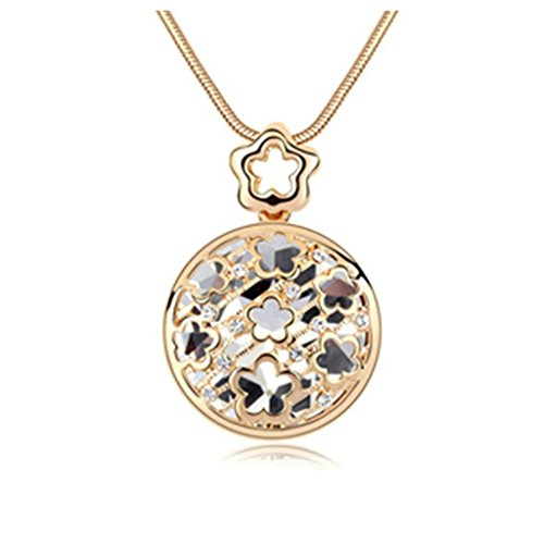 Gufts For Him - Aooaz Alloy Sweater Necklace Pendant Necklace For Women Hollow Flower Round Crystal White Necklace Retro