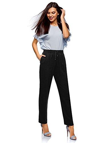 Pantalones Ultra Oodji Mujer Negro De Con 2900n Cordones Viscosa REWPfqvdxW
