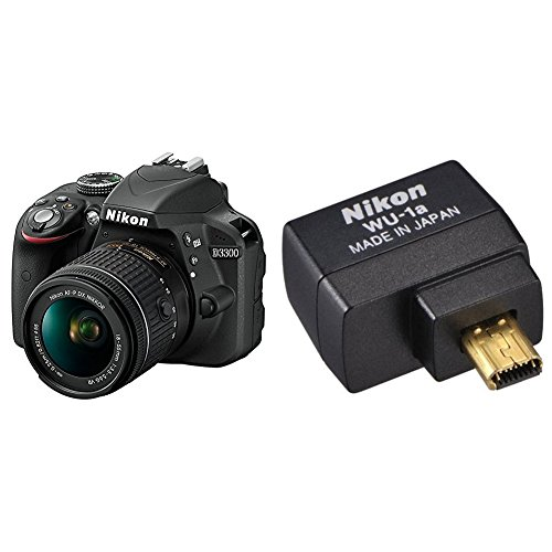 Nikon D3300 w/ AF-P DX 18-55mm VR Digital SLR (Black) w/ Wifi Adapter