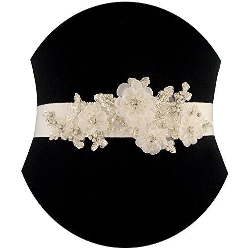 ULAPAN Women's Rhinestones Bridal Sash Bridal Belt Floral Wedding Belt Wedding Sash,LWS358 (Ivory)