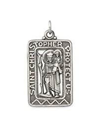 925 Sterling Silver Brushed Saint Christopher Medal Pendant Charm Necklace Religious Patron St Fine Jewelry For Women Gift Set