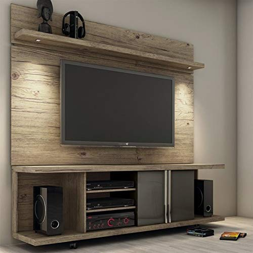 Manhattan Comforts 2-1456881461-MC Carnegie Stand and Park 1.8 Floating Wall TV Panel, 71Lx17.1Wx73H, Nature and Onyx