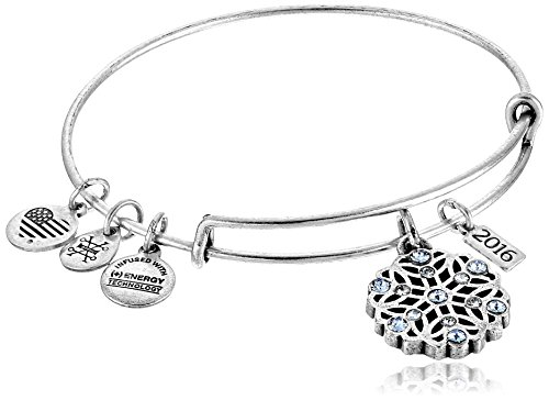 Alex and Ani 2016 Snowflake Expandable Wire Bangle Charm Bracelet