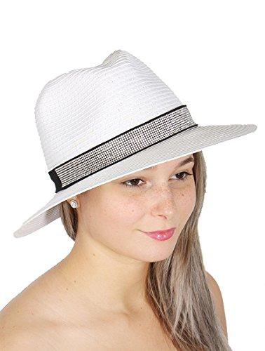 Fedora Rhinestone (SERENITA Paper Straw Panama Hat w/Band, Women, Rhinestone White, 1920s)