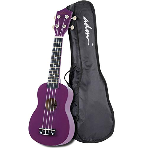 ADM Beginner Ukulele 21 Inch Soprano Kids Starter Pack Bundle with Gig bag Tuner Fingerboard Sticker Chord Card, Purple ()