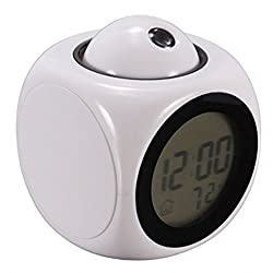 Waid-LCD Talking Projection Alarm Clock Time & Temp Display(white)