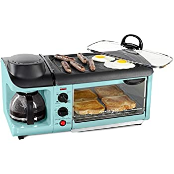 NOSTALGIA BSET300AQ Retro 3-in-1 Family Size Breakfast Station, Coffeemaker, Toaster Oven, Griddle, Aqua
