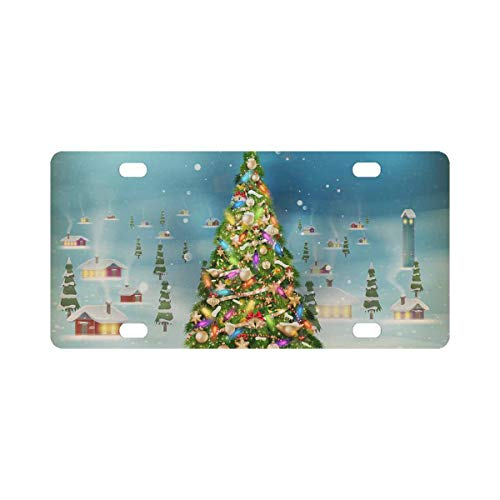 InterestPrint Christmas Snowfall Village Tree Metal License Plate Home Decor 12