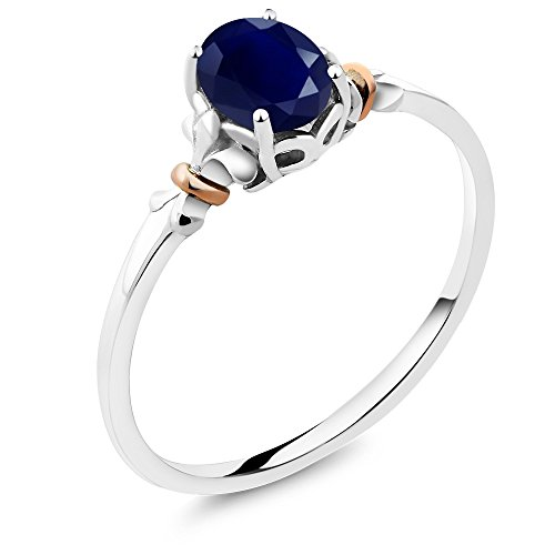 925 Sterling Silver and 10K Rose Gold Ring Oval Blue Sapphire 1.02 cttw (Size 6) by Gem Stone King