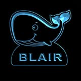 ws1037-0747-b BLAIR Whale Night Light Nursery Baby Kids Name Day/ Night Sensor LED Sign