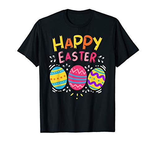 Happy Easter Day T-Shirt Colorful Dye Egg Hunting Cute Shirt ()