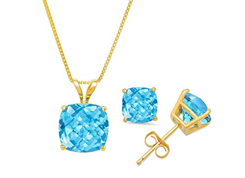 Certified 14k Yellow Gold Cushion-Checkerboard-Cut Swiss Blue Topaz Pendant Necklace & Stud Earring Boxed Set, 18