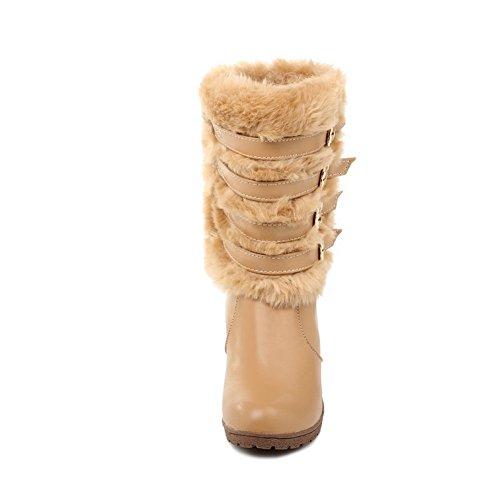 Amoonyfashion Mujeres Cerrado Punta Redonda High Heels Pu Material Suave Solid Botas Con Cuña Beige