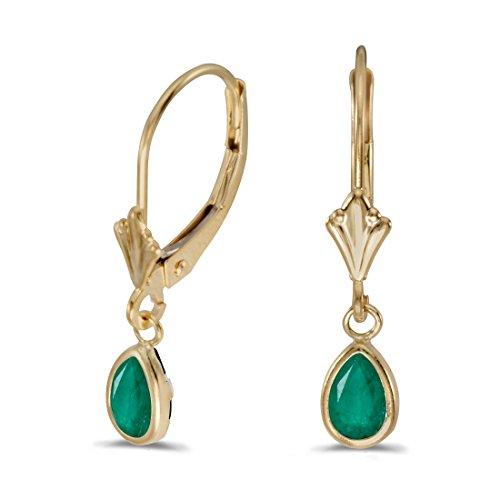 14K Yellow Gold Pear Emerald Bezel Lever-back Earrings ()