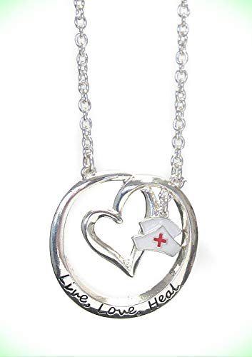 - NURSE Round Circle Heart Disc With Cap Charm Live Love Heal RN Necklace For Women