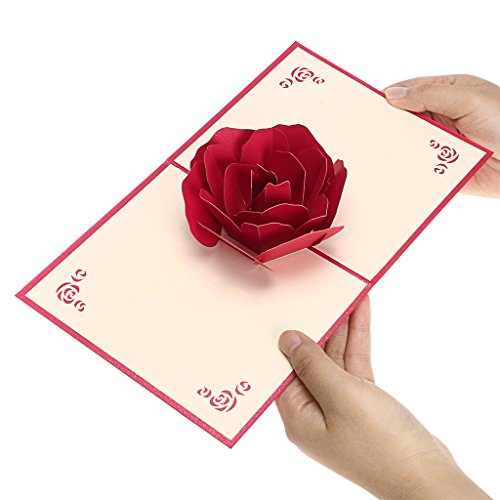Hipiwe 3D Pop Up Greeting Cards With Envelope Festival Gift Card for Birthday, Anniversary,Halloween Christmas Handmade Paper Craft Gift (Red - Craft Cards Envelopes